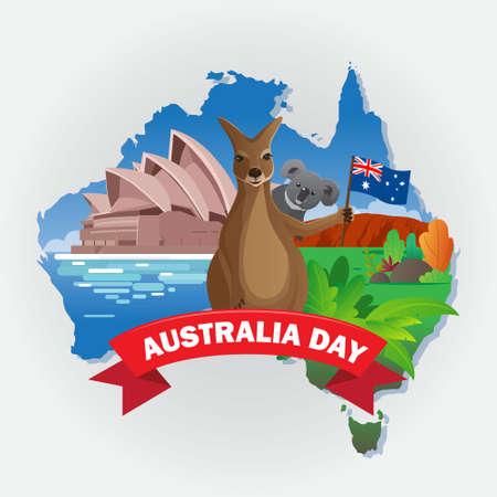 Australian day greeting card with kangaroo and koala