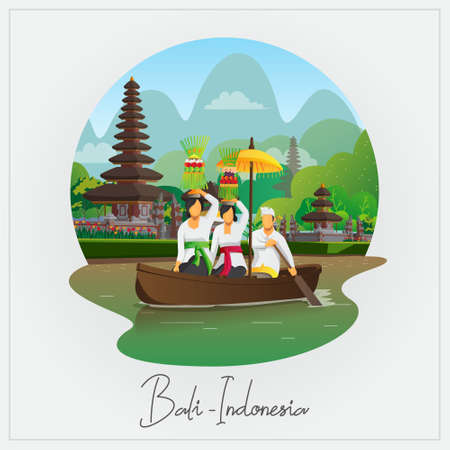 Welcome to Bali greeting card with people ride boat with Galungan ceremony equipment