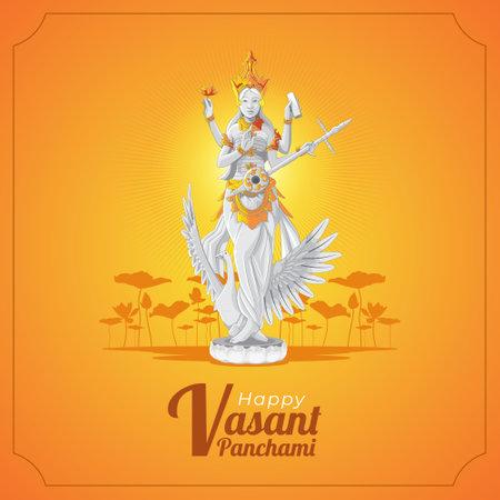 Vasant Panchami Greeting card with saraswati goddess statue