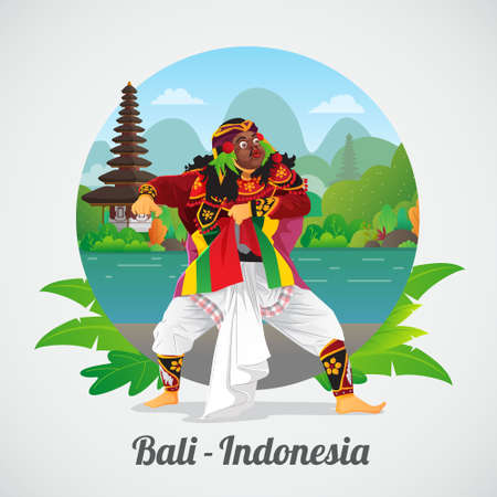 Welcome to Bali Greeting card with Balinese Mask Dancer