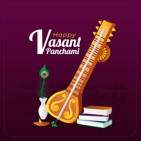 Vasant Panchami greeting card with traditional musical instrument
