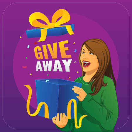 woman illustration opening give away present
