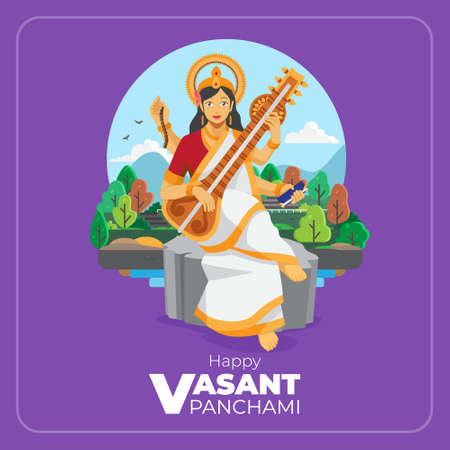 Happy vasant panchami  flat illustration greeting card