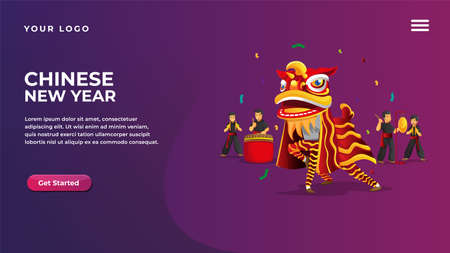 chinese new year lion dance concept for website and mobile apps landing page Vettoriali