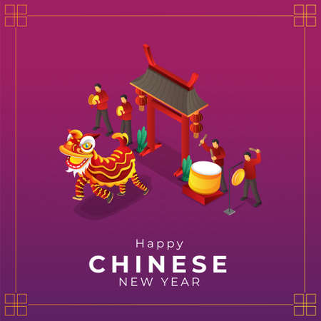 Isometric chinese new year lion dance greeting card Vettoriali