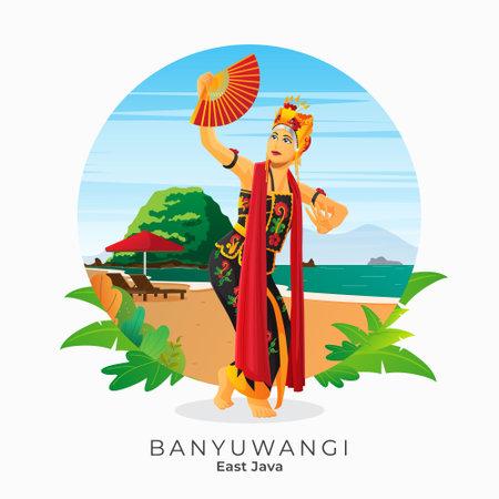 gandrung dance from Banyuwangi East Java Indonesia Vettoriali