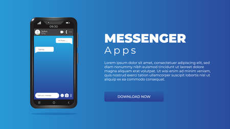 Realistic 3d smartphone template on a blue background. Mockup cellphone. Chat messages on the cell phone screen. Form for mobile applications, websites, designers. Vector Vettoriali