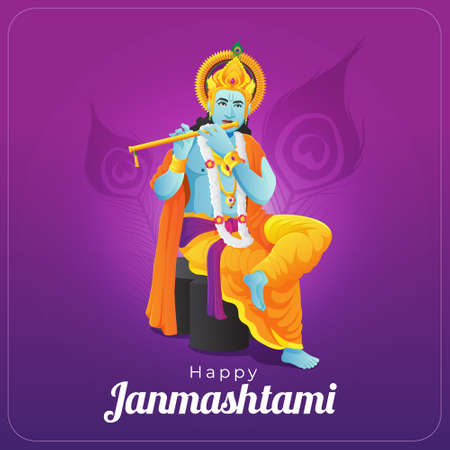 Happy Janmashtami greeting card with lord krishna playing golden flute