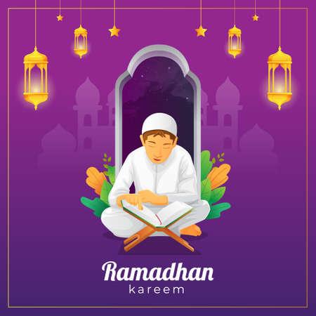 Ramadhan greetings card with kid reading Quran