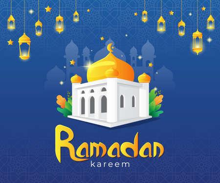 vector illustration of ramadan kareem greetings card with mosque and arabic lamp Vettoriali