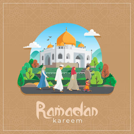 vector illustration of ramadan kareem greetings card with people walking to mosque