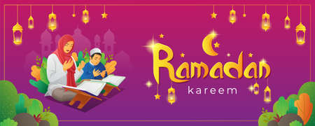 Ramadan Kareem banner with praying people while reading Quran