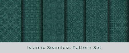 6 Islamic Seamless vector Pattern Collection Set Vettoriali