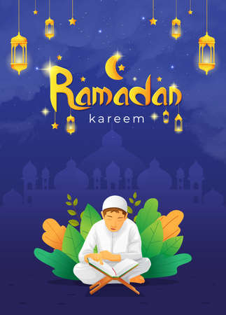 Ramadhan kareem greetings card with kid reading quran vector image Vettoriali