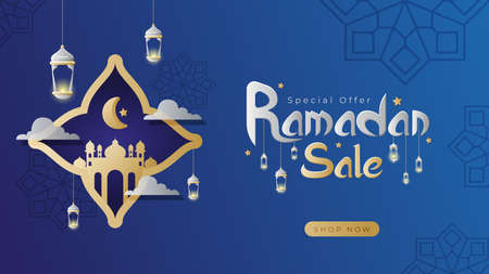 Ramadan sale banner landing page with blue vector background