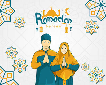 vector illustration of ramadan kareem greetings card with muslim couple Vettoriali