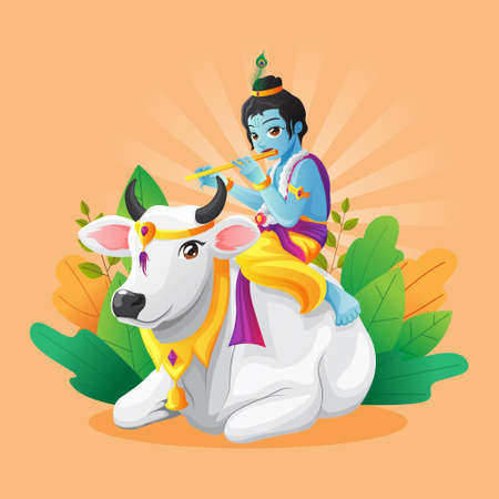 Cute vector illustration of little krishna playing flute while riding white cow Vettoriali