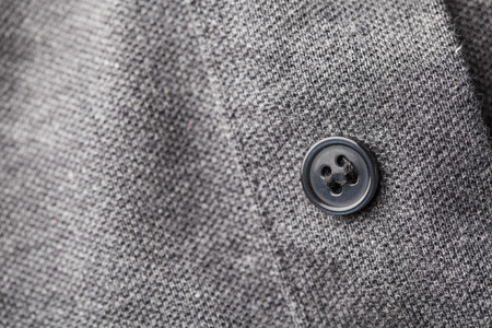 dressy: black buttons gray shirt Stock Photo