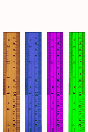 ruler: colourful ruler on white background.