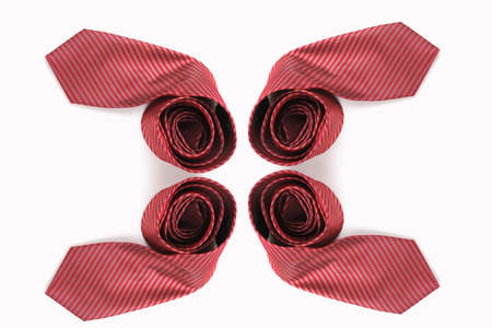 neck tie: red business neck tie silk on white background. Stock Photo