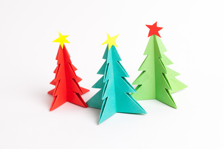 new ideas: Christmas tree on white isolated origami.