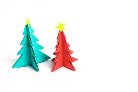tree isolated: Christmas tree on white isolated origami.