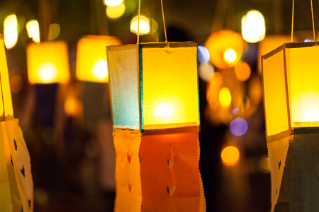 Candles in paper colorful  lantern festival or YeePeng festival, Chiang Mai, Thailand Stock Photo