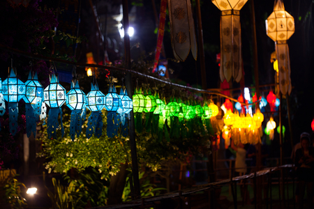 colorful lantern: Candles in paper colorful lantern festival or YeePeng festival, Chiang Mai, Thailand