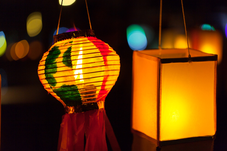 colorful lantern: Candles in paper colorful  lantern festival or YeePeng festival, Chiang Mai, Thailand Stock Photo