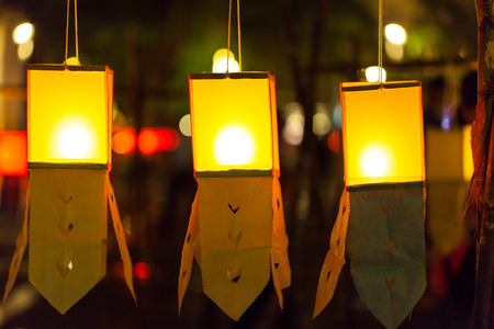 yeepeng: Candles in paper colorful  lantern festival or YeePeng festival, Chiang Mai, Thailand Stock Photo