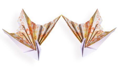 origami bird on white background