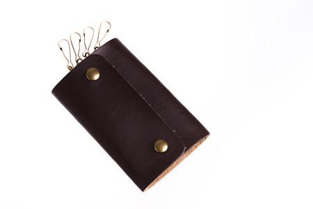 imitation leather: key case imitation leather on white background. Stock Photo