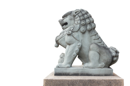 Singha Stone statue on white background. Isolate Singha Stone statue.