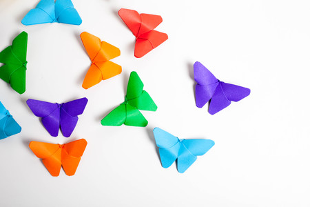 colourful origami butterfly paper on withe background.