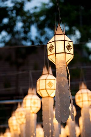 colorful lanterns light in thai festival. Stock Photo