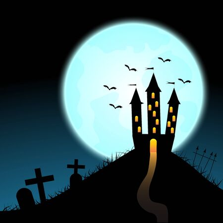 Halloween castle on blue moon background. illustration.