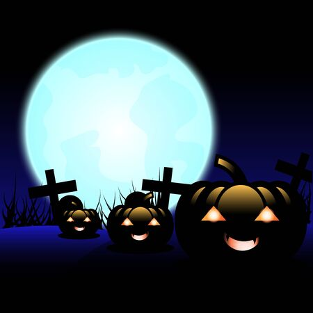 ghost house: Pumpkin Halloween Devil under a bright moon in the night of Halloween.