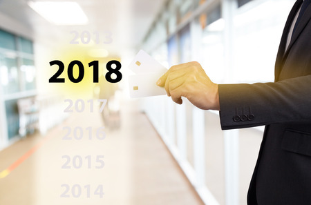 business man with credit card in new year 2018, Digital money.