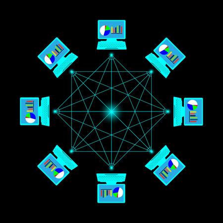 laptop screen: computer network. Star network design.