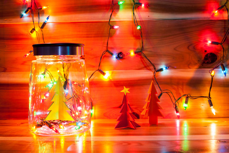 christmas light in bottle decor stock photo 88413531