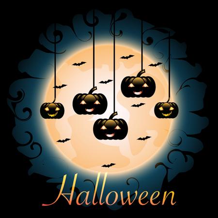 Halloween pumpkins hanging on red Moon background, illustration.