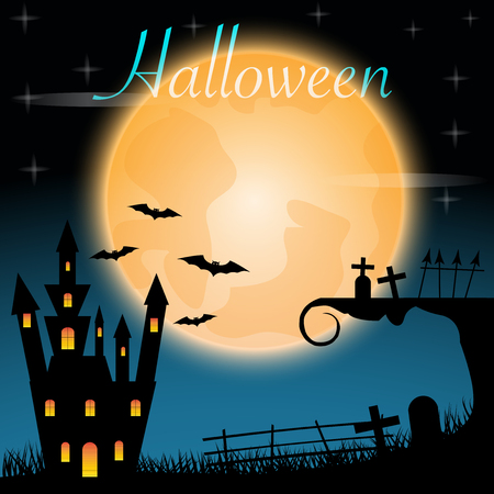 Halloween castle on red moon background. illustration.