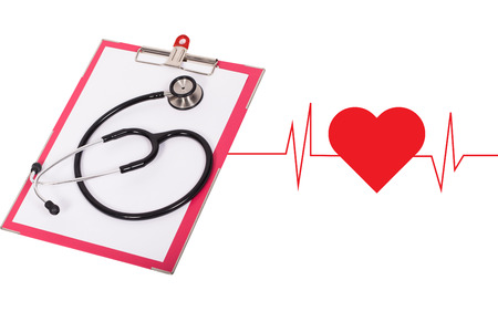 stethoscope on the chart file with heart pulse graphic.
