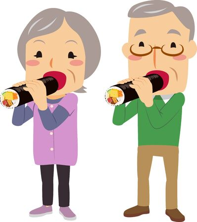 An old couple eating Ekatamaki