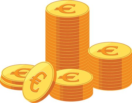 Image of piled up euro coins. 일러스트