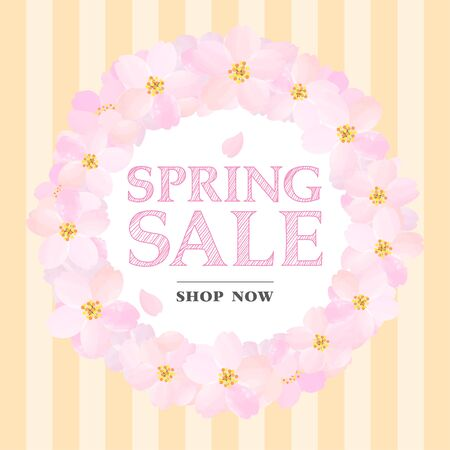 Orange Banner of Spring Sale with Cherry Blossoms Circle Illustration