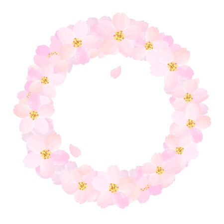 Illustration of Cherry Blossoms Circle