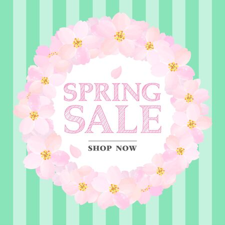 Green Banner of Spring Sale with Cherry Blossoms Circle