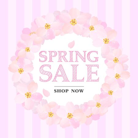 Pink Banner of Spring Sale with Cherry Blossoms Circle