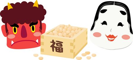 Facing Left Illustrations of Red Demon and Okame, One of Japanese Traditional Mask and Beans Box ,Using in
